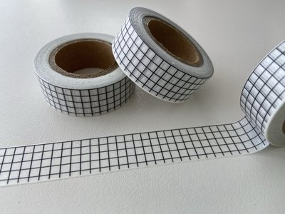 Washi Masking Tape | White and Black Grid