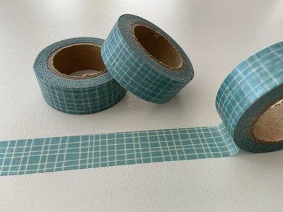 Washi Masking Tape | Blue with white Grid