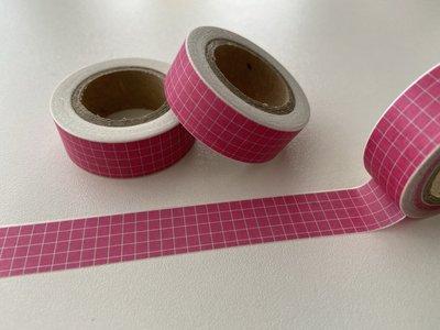 Washi Masking Tape   Pink with white Grid