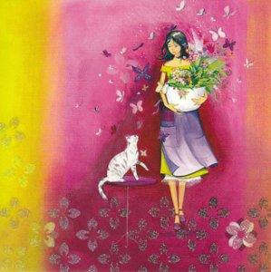 Postcard Kristiana Heinemann   Woman with cat and butterflies