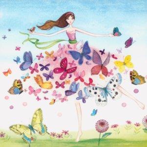 Postcard Kristiana Heinemann | Woman with dress made of butterflies