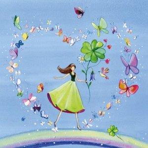 Postcard Kristiana Heinemann   Woman on rainbow in heart from butterflies