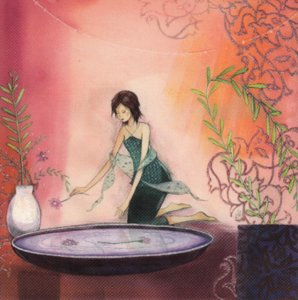Postcard Kristiana Heinemann | Woman puts flowers in bowl