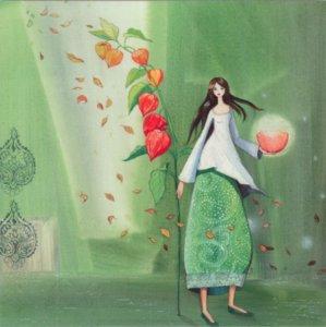 Postcard Kristiana Heinemann | Woman with physalis