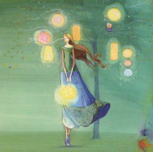 Postcard Kristiana Heinemann   Woman with Lanterns
