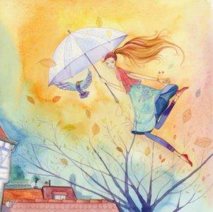 Postcard Kristiana Heinemann | Woman flies with an umbrella
