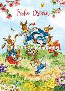 Carola Pabst Postcard | Frohe Ostern (Dancing bunnies)