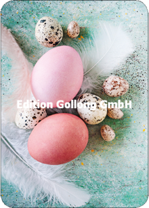 Postcard - Easter eggs and feathers