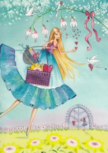 Postcard Kristiana Heinemann   Woman with gifts and Hearts