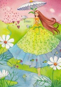 Postcard Kristiana Heinemann | Woman with flower umbrella and heart