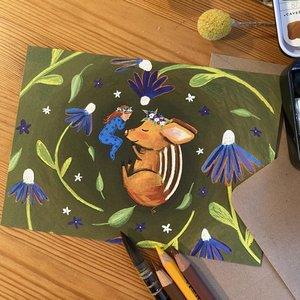 Piglet Sleeps - Postcard with envelope by Esther Bennink