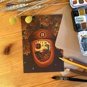 Hedgehog Knitting - Postcard with envelope by Esther Bennink