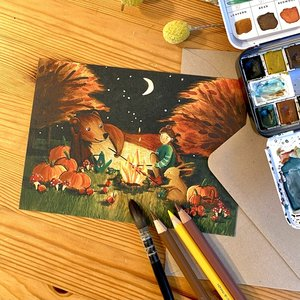 Autumn Picnic - Postcard with envelope by Esther Bennink