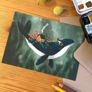 Whale Wishes - Postcard with envelope by Esther Bennink