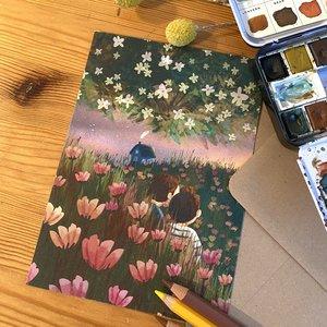 Midsummer evening - Postcard with envelope by Esther Bennink