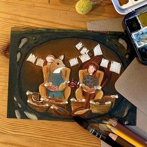 Mouse Sitter - Postcard with envelope by Esther Bennink