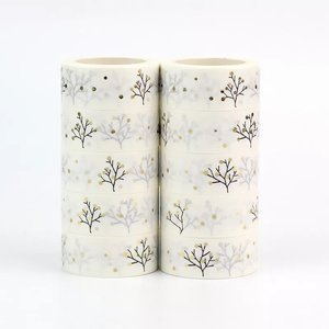 Washi Masking Tape | Winter Tree with gold foil dots