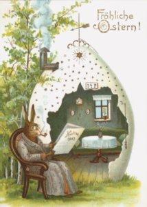 Art Postcard   Grossvater Hase/ Fröhliche Ostern!