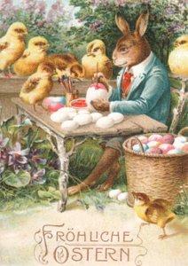 Art Postcard   Eiermalstunde/ Fröhliche Ostern