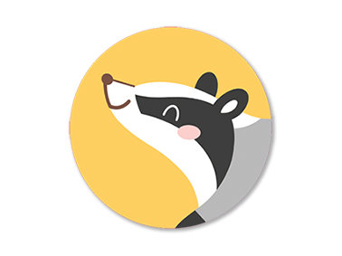 Set of 5 Round Badger Stickers by Mila-Made