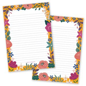 A5 Floral Yellow Notepad - Double Sided