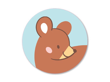 Set of 5 Round Summer Bear Stickers by Mila-Made