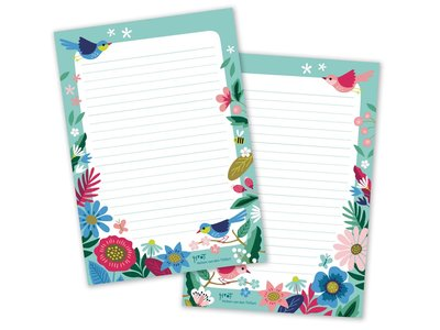 A5 Birds & Bloom Notepad by Heleen van den Thillart