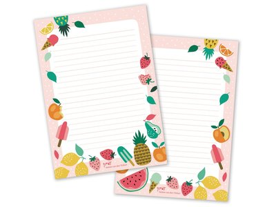 A5 Summer Fruit Notepad by Heleen van den Thillart