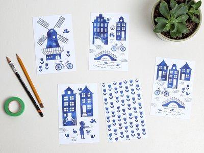 Postcard Set Watercolor Holland by Heleen van den Thillart