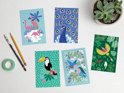 Postcard Set Birds by Heleen van den Thillart
