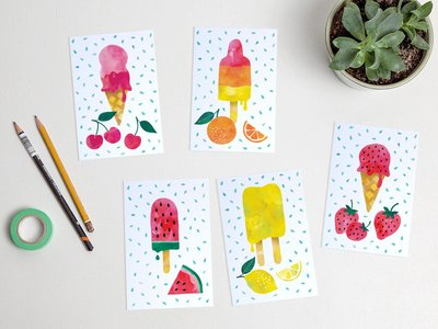 Postcard Set Summer ice cream by Heleen van den Thillart