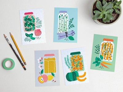 Postcard Set Pickled Veggies by Heleen van den Thillart