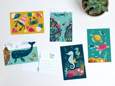 Postcard Set Sea Animals by Heleen van den Thillart