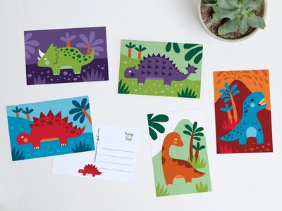 Postcard Set Cute Dinos by Heleen van den Thillart