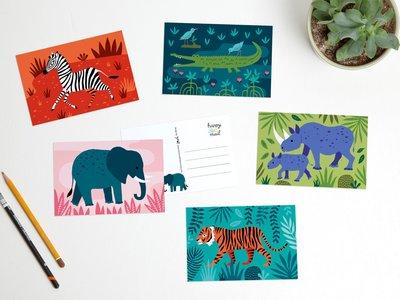 Postcard Set Wild Animals by Heleen van den Thillart