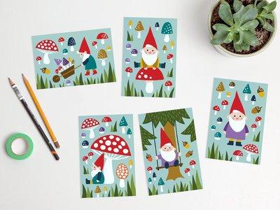Postcard Set Happy Gnomes by Heleen van den Thillart