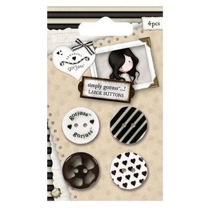 Gorjuss Large Buttons (4pcs) - Neutrals