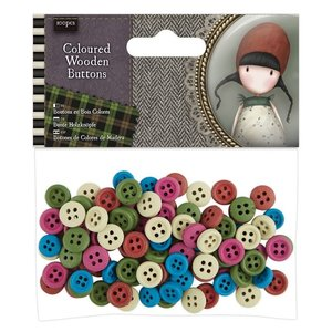 Gorjuss Coloured Wooden Buttons (100pcs) - Santoro Tweed