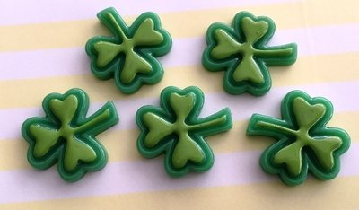 Flatbacks Resin Charms | St Patrick's Day Clovers