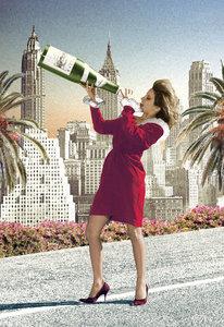 Champagne Girl Individual Postcard by Max Hernn
