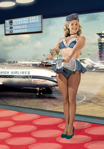 Mile High Airlines Air Hostess Individual Postcard by Max Hernn