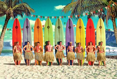 Surfers Individual Postcard by Max Hernn