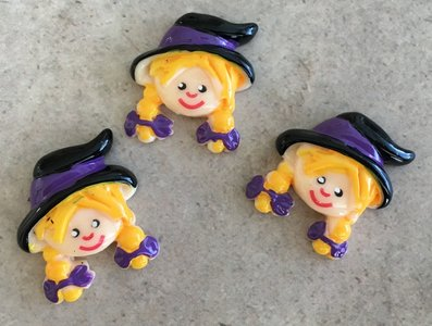 Flatbacks Resin Charms | Halloween Witch