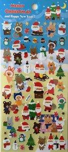 Merry Christmas Seal Sticker   Blue Santa Tree