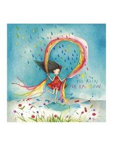 Mila Square Postcard | No Rain No Rainbow