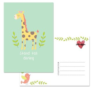 Postcard LittleLeftyLou | Cute Animals - Giraffe
