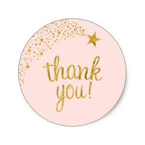 Thank You Circle Sealing Stamp Stickers | Shooting Star Pink Gold