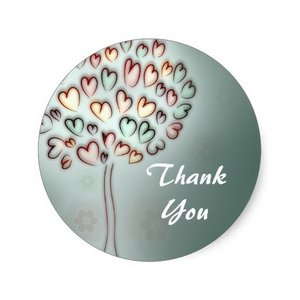 Thank You Circle Sealing Stamp Stickers | Heart Love Tree