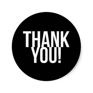 Thank You Circle Sealing Stamp Stickers   Simple Black and White