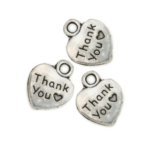 Tibetan Silver Plated Thank You Heart Charms Pendants